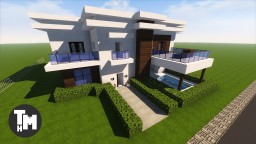 How To Build a Large Modern Mansion / House / Villa Minecraft Project