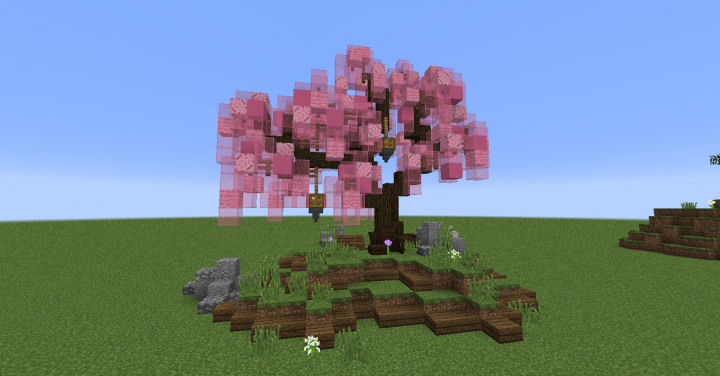 First Try on a Japanese Cherry Tree - The leaves are pink glass, wool, concrete and terracotta blocks