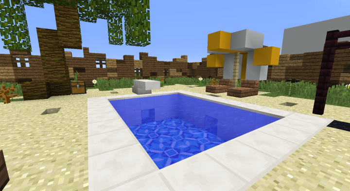 A Pool - Light blue terracotta blocks for the ground and colourful concrete blocks for the sunshade.