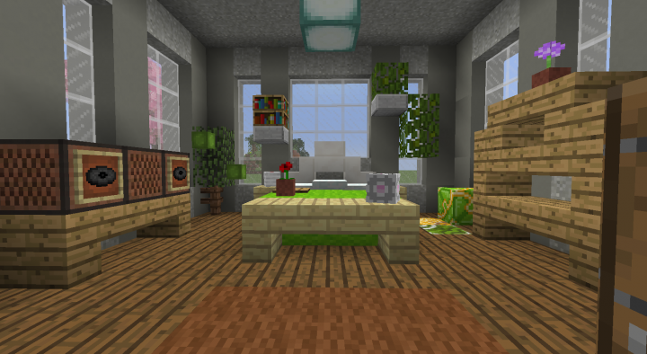 Modern Bedroom - The ceiling is light grey concrete powder and terracotta blocks can be used as dirty laundry!