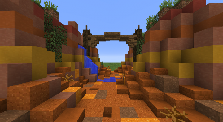 Mini Canyon Biome - Using the new brown and orange concrete powder for the ground