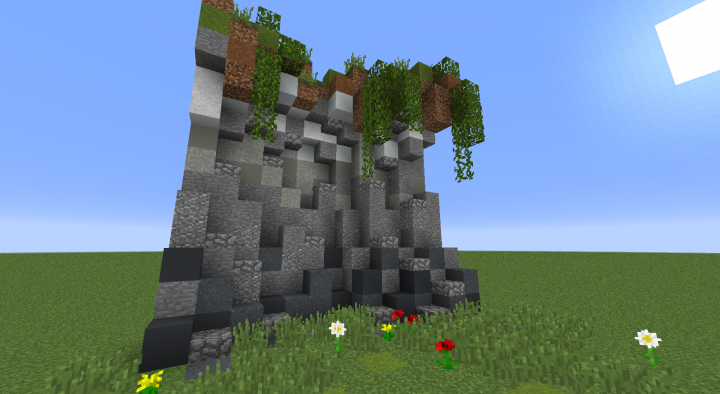 A Small Cliff - Consisting of a concrete, concrete powder, cobblestone, andesite and stone mixture with grass on the top