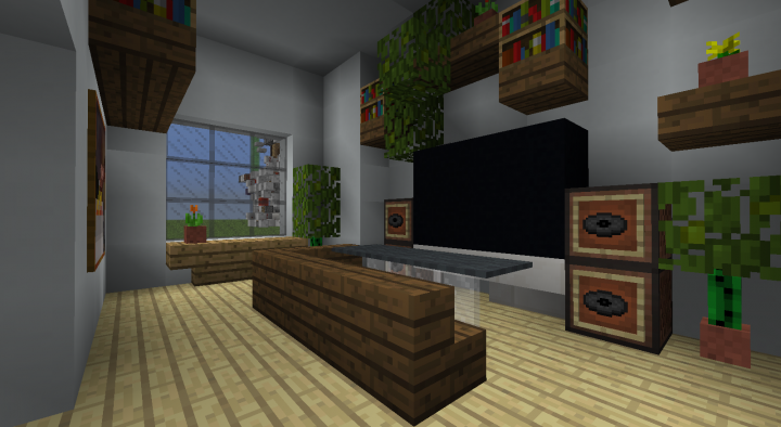 Modern Living Room - And we can also use black concrete instead of coal blocks or obsidian for TVs. 3