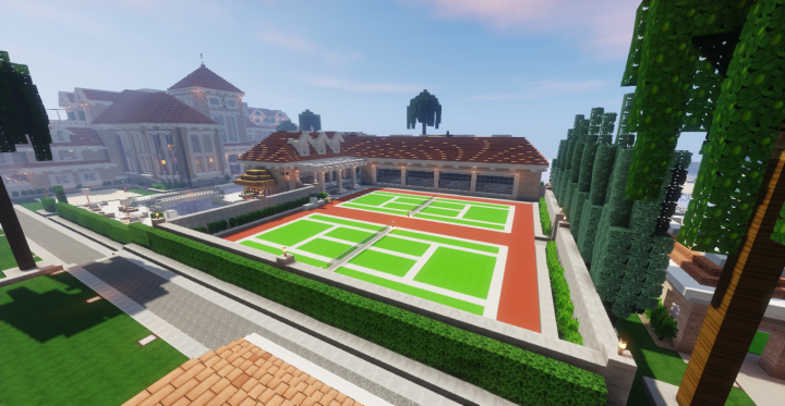 Tennis court, basketball court, and pool house.
