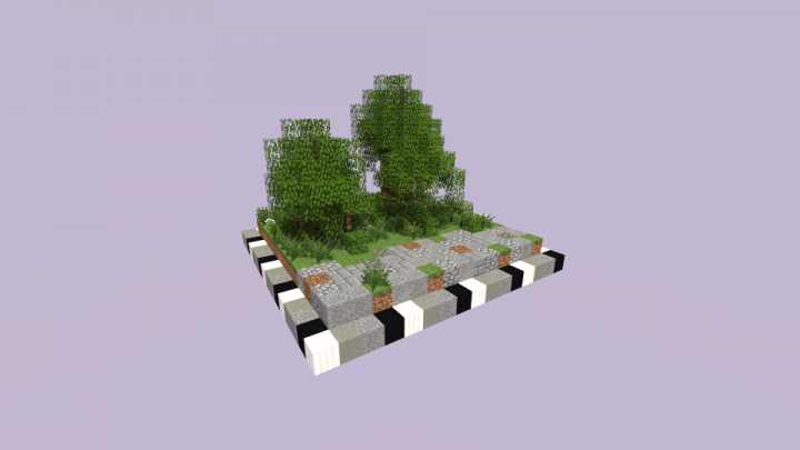 A miniature demonstration of how a small road by the forest would look.