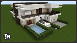 Modern Mansion / House Tutorial (With Garage & Pool) Minecraft Project