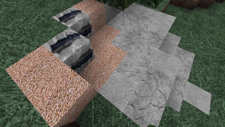 Stone, Granite, Coal Ore, and Grass