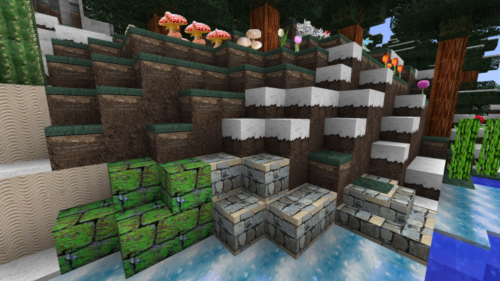 Stone bricks, sand, ice, and a few plants