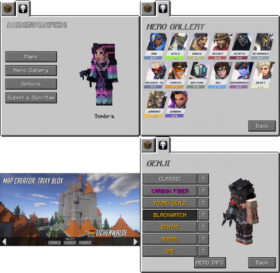 This tab can be used to find Overwatch maps, change your heroes armor skins, and easily access the mods configurations.
