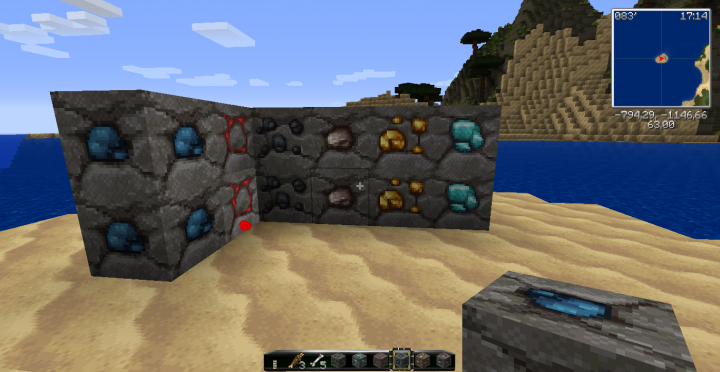 Lapislazuli, redstone, coal, Iron, gold, Diamond Ores