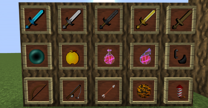 Swords, potions, and other items