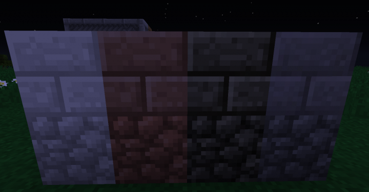 Diorite, Granite, and Andesite Compared to Cobble and Stone Brick