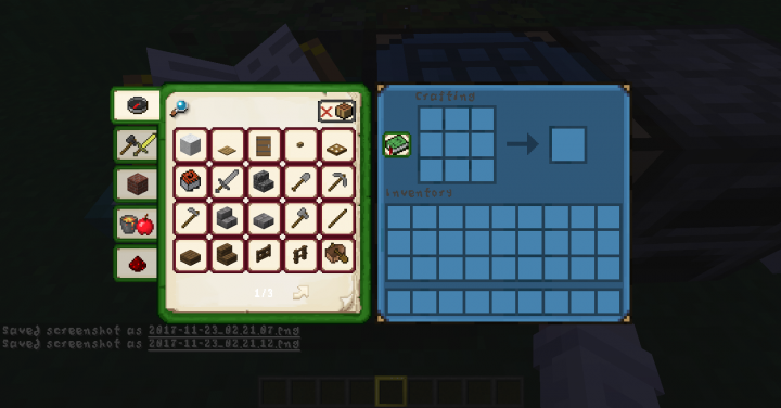 Recepie Book and Crafting Bench interface