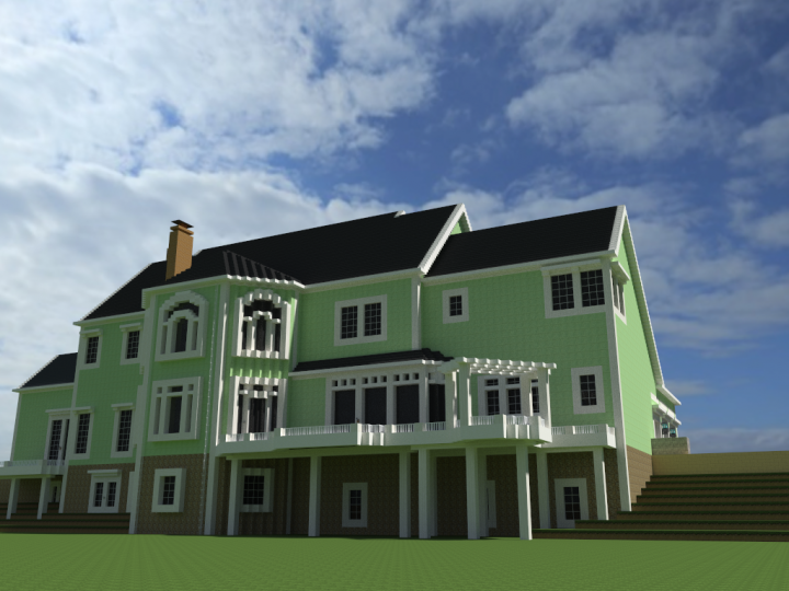 American Country Estate - Rear Elevation