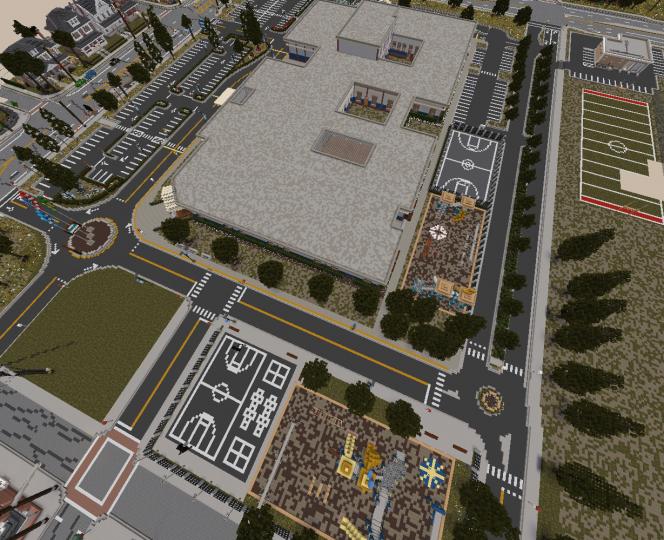 Aerial view of Newport Elementary School in Rushing Oaks.