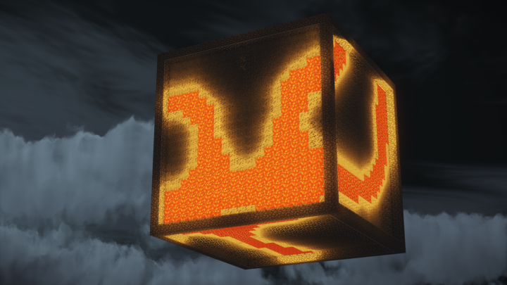 An ore cube. Great for mining! But good luck getting those diamonds by the lava.