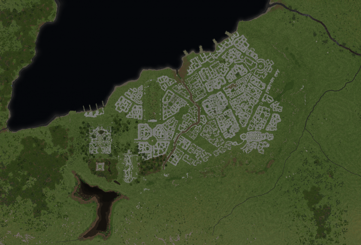 An overview of the whole city. A bug with our dynmap allows you to see the layout very clearly!