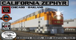 [1.5:1 Scale] CB&Q / D&RGW / WP California Zephyr passenger train Minecraft