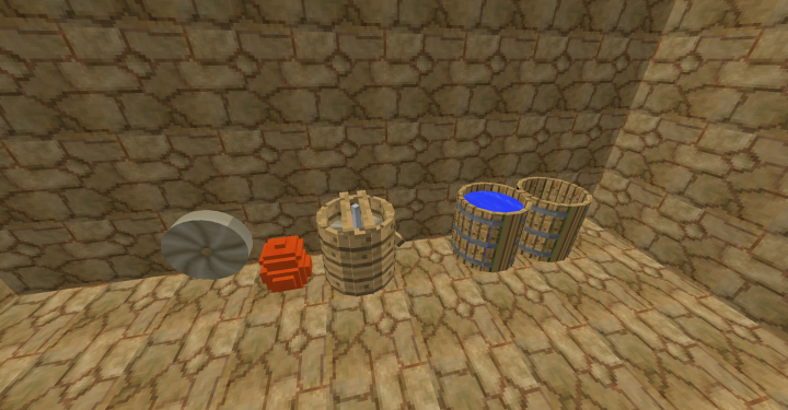 Millstone, clay pot, grain mill, and barrels