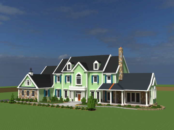 American Country Estate - Front Elevation - Porch Side