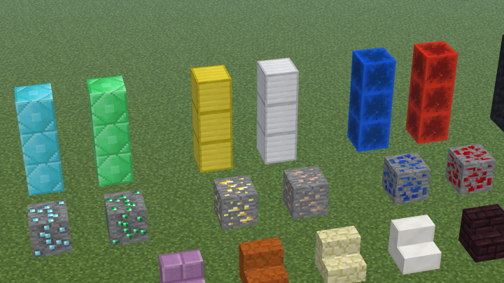 Diamond Ore - Diamond Block - Gold Block - Lapis Block - Redstone Ore