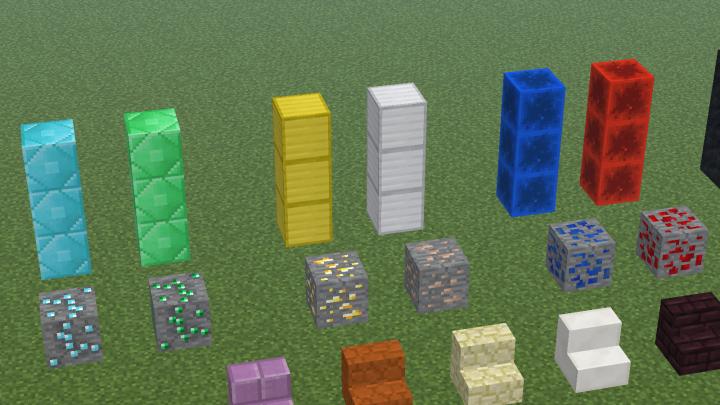 Diamond Ore - Diamond Block - Gold Block - Lapis Block - Redstone Ore