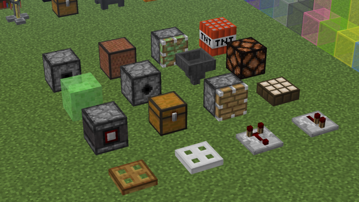 Observer - Comparator - Dropper - Note Block - Sticky Piston - Dispenser - TNT - Daylight Sensor