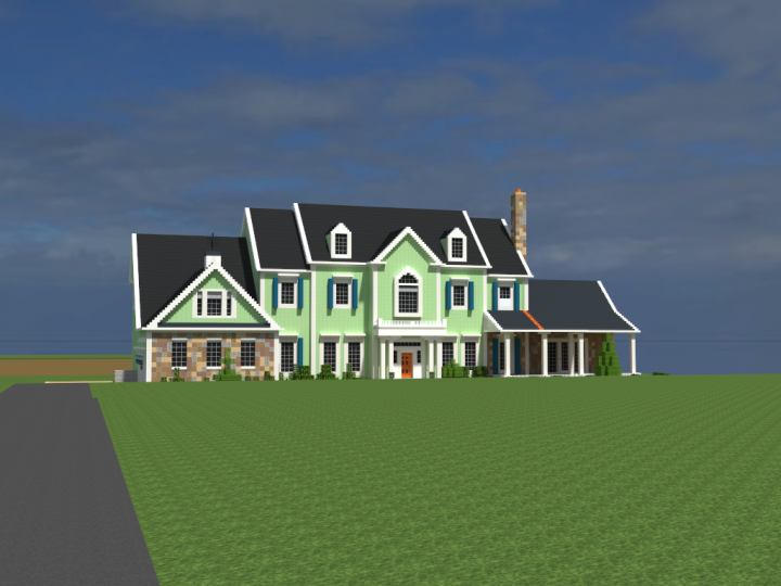 American Country Estate - Front Elevation - Garage Side