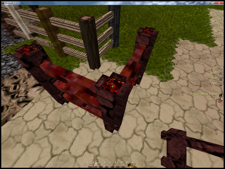 Dungeon x64  - New Nether Fence model. Nether Brick with Netherack cross beams and a Lava Center animated