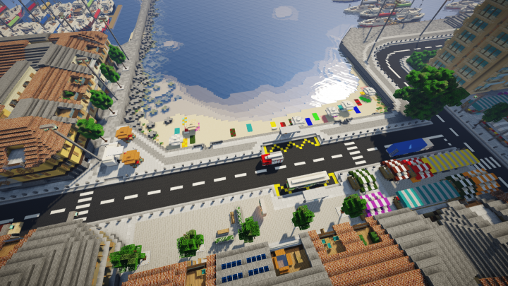 Beach, promenade, marketplace, bus stops, and several low-rise homes
