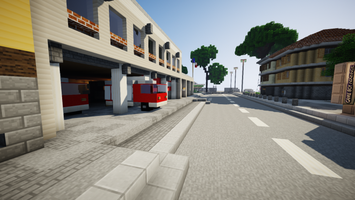 Fire station, featuring european-styled firetrucks of all kinds