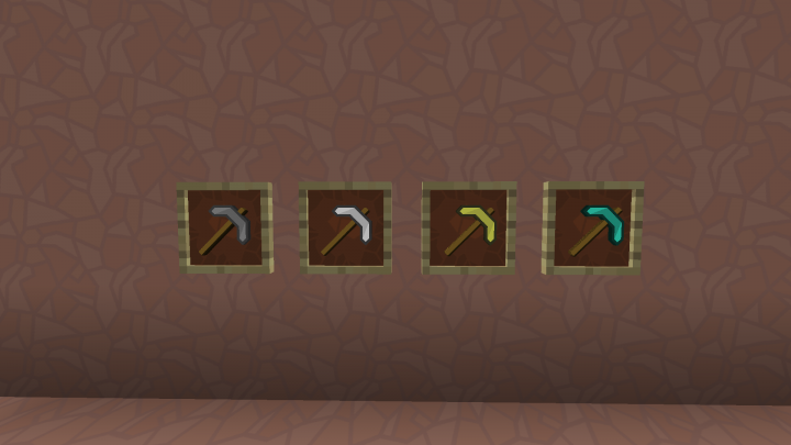 a collection of pickaxes