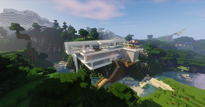 Modern Mountain Mansion Minecraft Project