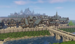 riverside town and castle Minecraft