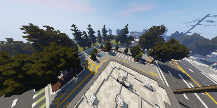 A view of the parking lot from the top of the build