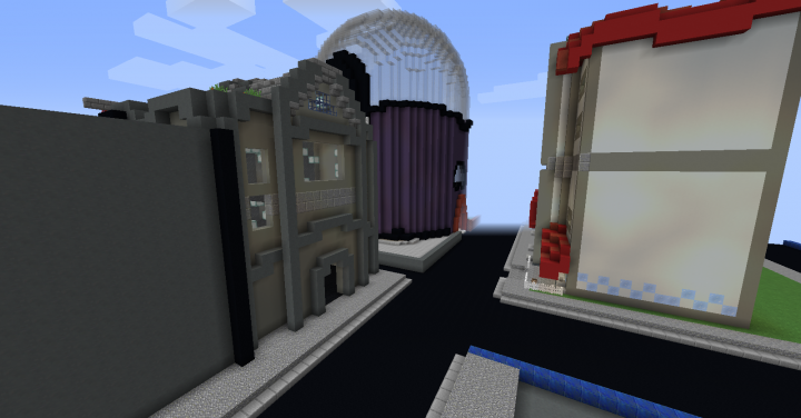 View of the partially completed city Battle Dome, Guild House, Mall, and Casino