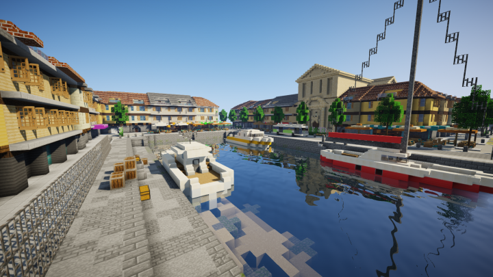 Touristic port area, featuring many restaurants, shops and landmarks