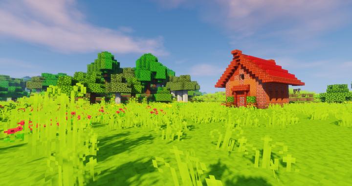 Red house - Taken with Sildur's Vibrant Shaders -Medium