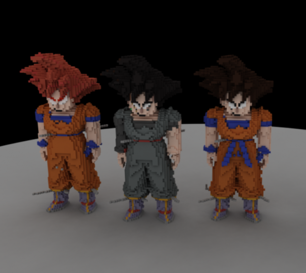 Goku Statues - 3D Rendered With MagicaVoxel