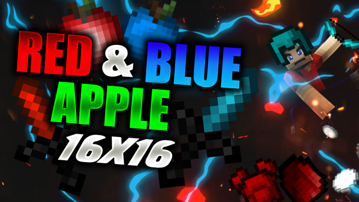 Popular Texture Pack : Blue and Red Apple v2 16x PvP Texture Pack Release! 🔥