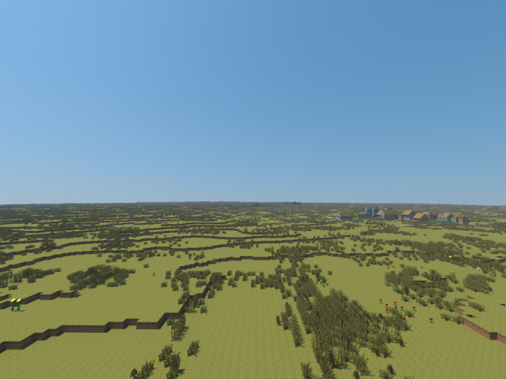 The vast Great Plains, with a NPC village in the background