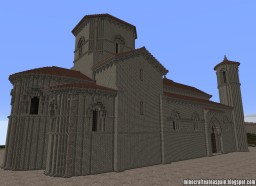 Replica Minecraft of the Church of San Martín de Tours, Fromista, Palencia, Spain. Minecraft Project