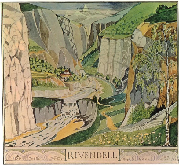 A watercolour of Rivendell made by Tolkien, which we used as a basis