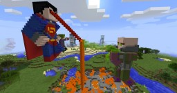 Giant Statues of the Justice League fighting various members of the Injustice League Minecraft Map & Project