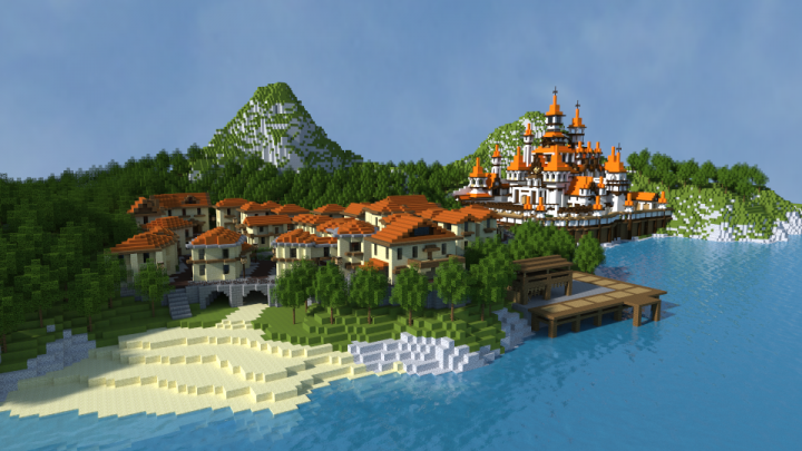 Small town of island and Submarine city Minecraft Project
