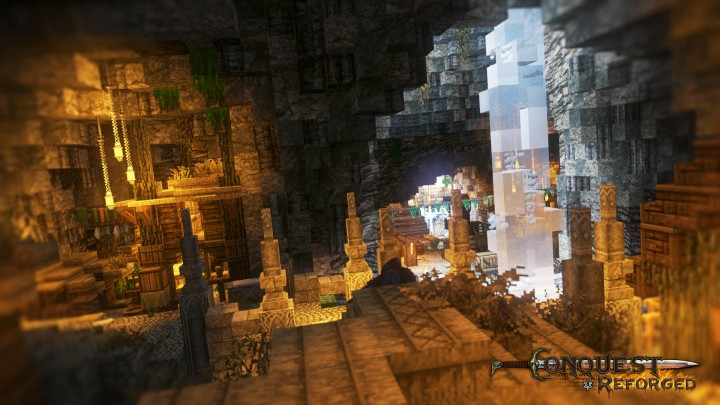 The derelict human settlement cast down into the caverns below.
