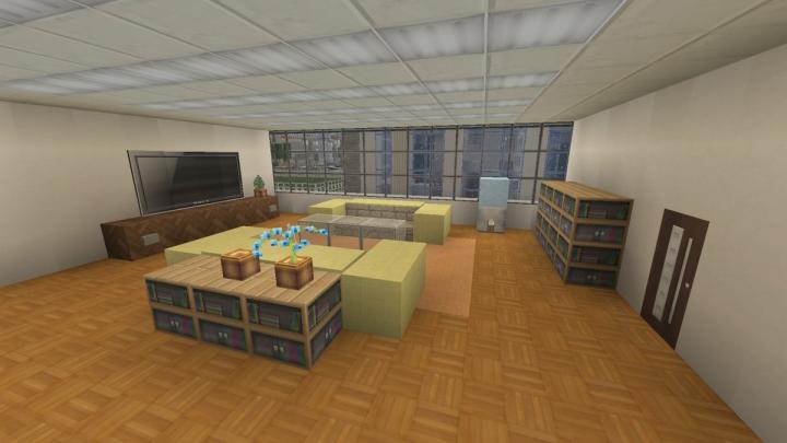 1F lobby with a TV.