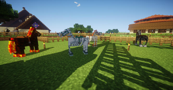 Some of the mythical horses gather in Chickinhawk's equestrian center.