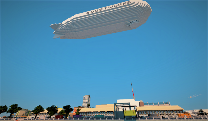 The Dustworks Zeppelin flying over the Sail Port district. Rendering courtesy of Miner332.