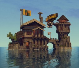 Lighthouse and mini Airship Minecraft Map & Project